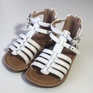 5 CAT & JACK White Strappy Gladiator Sandals Zip